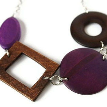 CIJ Sale 15% OFF Wood Necklace in Purple and Brown. Chunky Beaded Necklace.