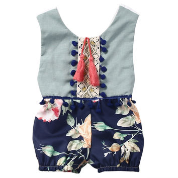 0-4Y Newborn Infant kids sleeveless ethnic tassel Romper Baby Boys Girls Clothes Romper Jumpsuit Outfit Set