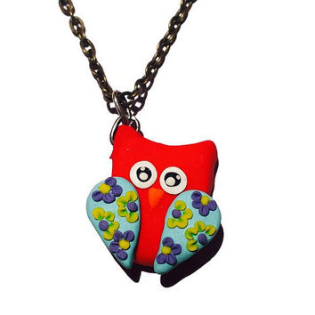 Owl Necklace Red Owl Pendant Woodland Bird Necklace Mini Owl Pendant Polymer Clay Owl Necklace Spring Jewelry Owl Jewelry Girl Gift Idea
