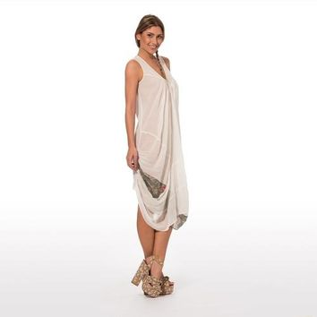 Elegant summer dress sleevless in pure cotton in