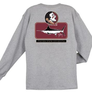 ONETOW NCAA Florida State Seminoles Guy Harvey  Blocked Gray T-shirt