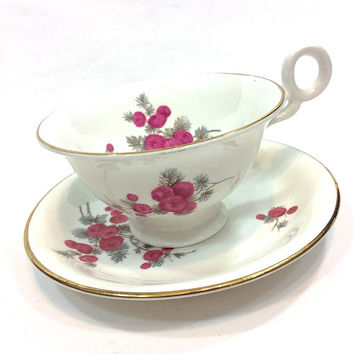English Shabby Chic Tea Cup and Saucer, Radfords Bone China, Red Berries, Gray Green Leaves, Mid Century Design, 1950s, Vintage Porcelain