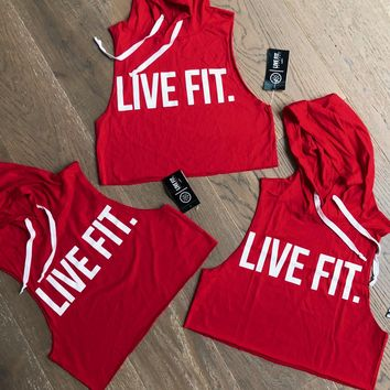 Live Fit. Apparel — Original Crop Cut Off Hoodie - Red