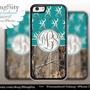 Monogram Iphone 5C case Browning  Turquoise iPhone 5s iPhone 4 case Ipod 4 5 case Real Tree Camo Deer Personalized Country Inspired Girl