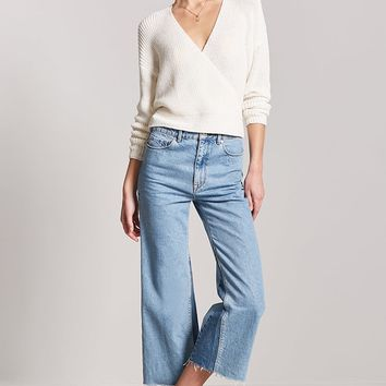 Ribbed Sweater-Knit Surplice Top