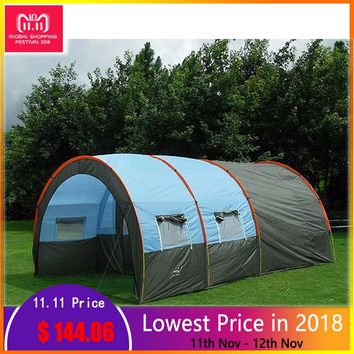 Large Camping Tents 10 Person Party Beach Tourist Double Layer Waterproof Outdoor Camping 2 Rooms Family Tunnel Tent