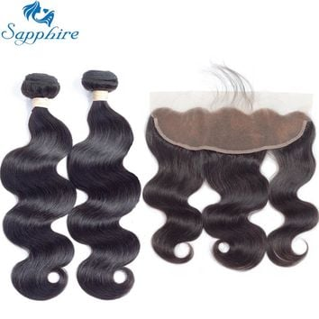 Sapphire Brazilian Body Wave Human Hair Bundles With Lace Frontal Closure For Salon 100% Human Hair 2/3 Bundles With Closure