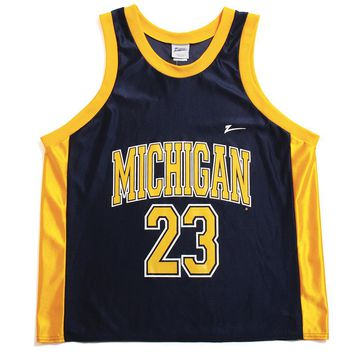 University of Michigan #23 Zubaz Basketball Jersey Tank Navy (Large)
