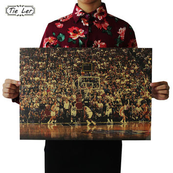 TIE LER Basketball Sports Kraft Retro Poster Kraft Paper Decoration Wall Sticker