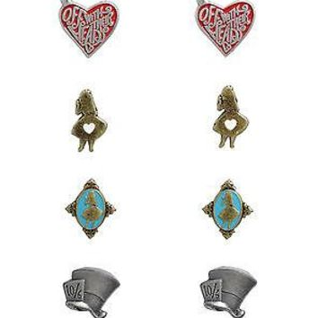 Licensed cool Disney Alice in Wonderland 4 Pair Pierced Post Earrings Mad Hatter Cameo Heart