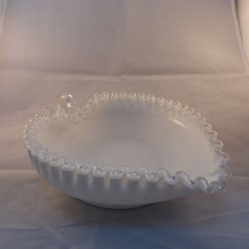 Fenton Heart Dish, Collectible, Signed Art Glass, Silver Crest, Candy Dish
