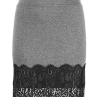 Plus Size - Lace Trim Ponte Skirt - Charcoal