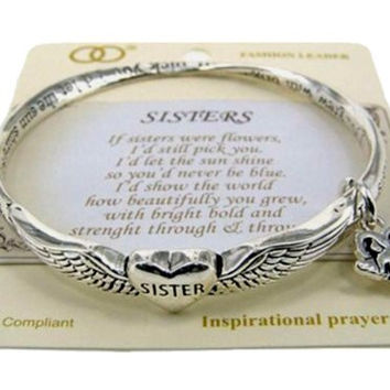 Bracelet Sisters Angel with Wings Sister Poem on display Card Gifts Ideas 1370