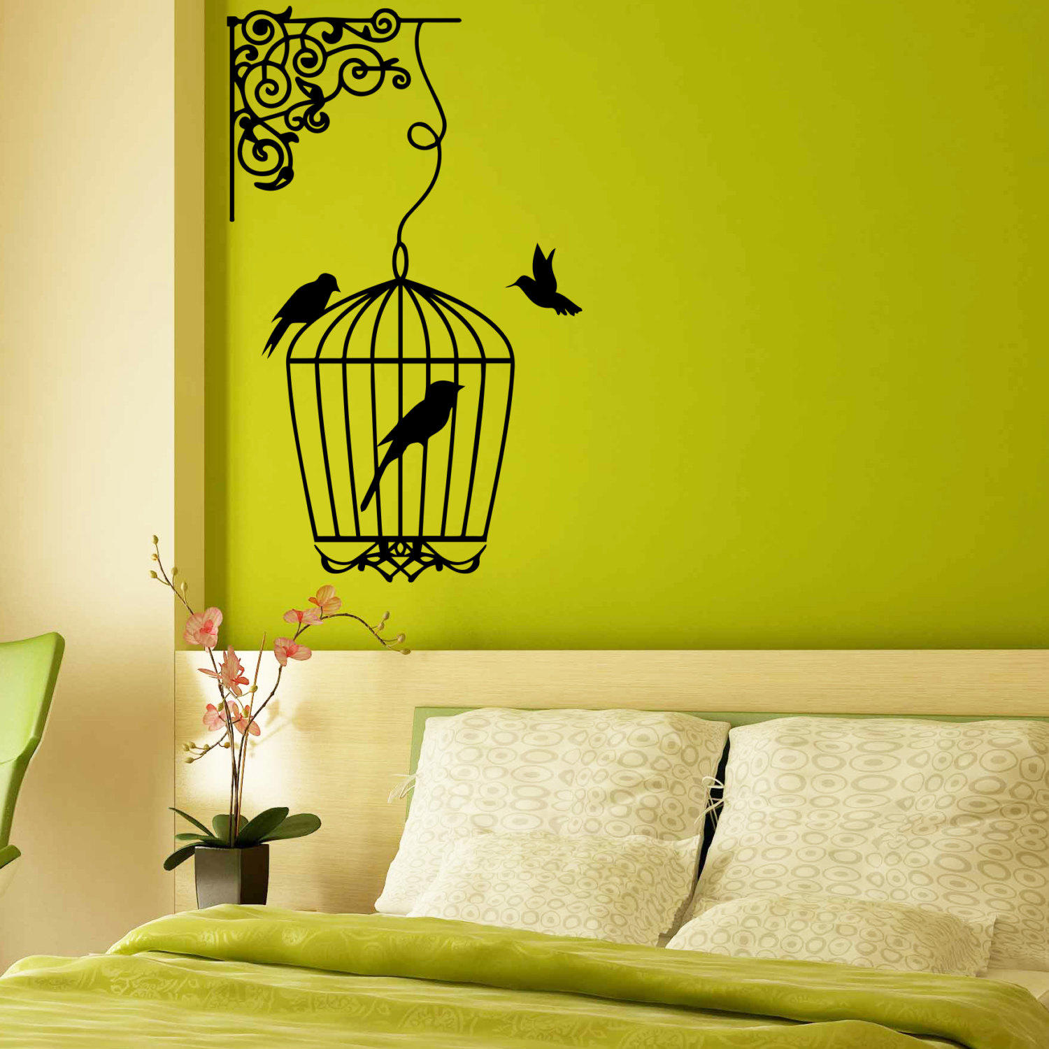 Wall Decal Bird Cages With Birds Design Wall Decals Childrens Bedroom  Living Baby Room Vinyl Stickers Animals Home Decor Murals 3841