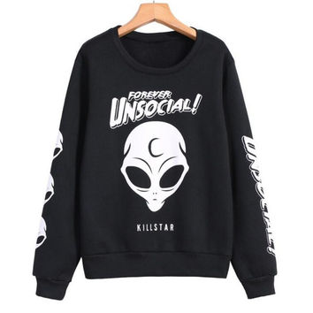 Black Skull Print Long Sleeve Sweater