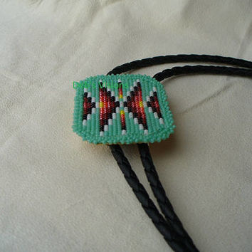 Native American Style Loom/Square stitched Beaded Bolo Tie in Zuni Turquoise and Fire Colors