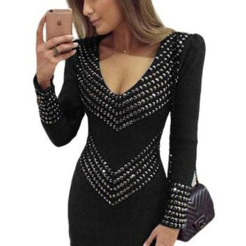 CREY78W Black Studded Long Sleeve Mini Dress