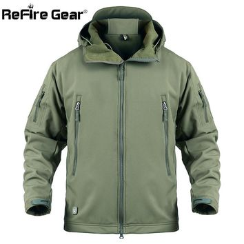 ReFire Gear Army Tactical Jacket Men Softshell Waterproof Camouflage Military Jacket Male Camo Clothes Winter Hoodie Jacket Coat