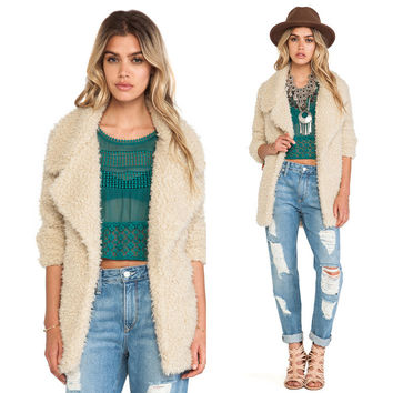 Winter Woolen Outwear Cardigan Lapel Coat