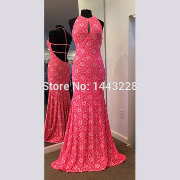 Halter Sexy Backless Lace Mermaid Prom Dress Coral Long Fitted Evening Party Gown vestido longo de festa
