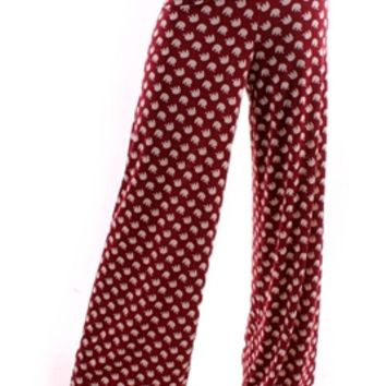 Elephant Print Palazzo Pants Wide Leg Alabama
