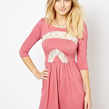 Love Skater Dress with Lace Inserts -