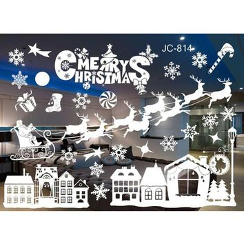 20 Styles Merry Christmas Window Glass PVC Wall Sticker DIY Snow Town Wall Stickers New Year Home Decal Christmas Decoration 1pc