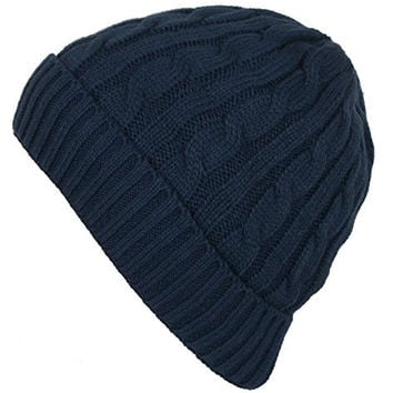 DRY77 Knit Cable Pattern Beanie Hat, Navy