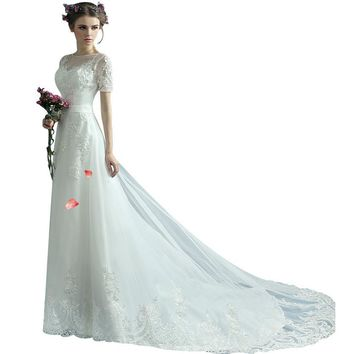 Wedding Dress Short Halter Lace Trailing Perspective Embroidery Bridal Princess Wedding Gowns