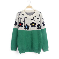 Winter Korean Women's Fashion Floral Sweater Pullover Patchwork Knit Tops Jacket [8216433153]