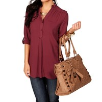 Burgundy 3/4 Sleeve Top