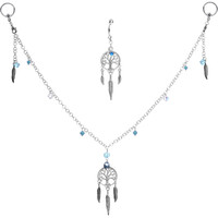 Dreamcatcher Nipple Chain Belly Ring Set MADE WITH SWAROVSKI ELEMENTS | Body Candy Body Jewelry