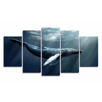 Decor Poster Wall Art Home Frame Canvas Painting Modular 5 Panel Sea Animal Fish For Living Room HD Printed Modern Pictures