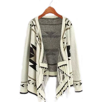 Women Ethnic Knitted Tassel Cape Cardigan Sweater