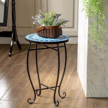 Giantex Outdoor Indoor Accent Table Plant Stand Cobalt Blue Color Scheme Garden Steel  Home Furniture OP3552BL