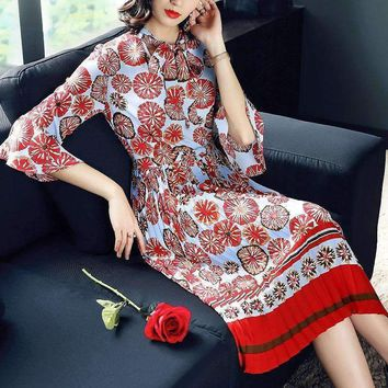Womens Couture Dress Flower Print V-Collar Stitching Sleeve