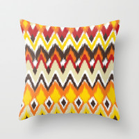 Aztec Tribal iKAt Pattern Fall Autumn Colors  Throw Pillow by TRM Design