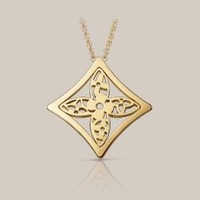 Small Monogram Résille pointed flower pendant in yellow gold - Louis Vuitton  - LOUISVUITTON.COM