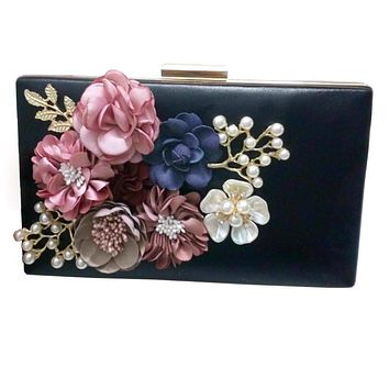 Hot New The Chain Women Handbags The Appliques Pattern Flowers Wedding Dinner Bags Hand Evening Bags Purses Clutch Box Package