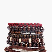 7Pk Bead And Rope Stacked Multipack Bracelet