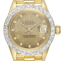 Rolex LN Datejust 18K Yellow Gold Original Factory Diamond Dial Ladies Watch - Made in Switzerland watches: Maurice Lacroix, Bvlgari, Montblanc and more - Modnique.com
