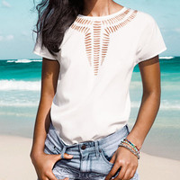 'The Kaie' Cut-Out High-Low Chiffon Blouse