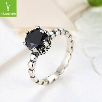 925 sterling Silver Rings Black Crystal Compatible With European Fit Original Pandora