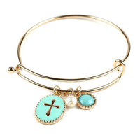 Gold Cross Mint Enameled Bangle Bracelet