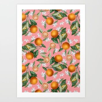 Lemon and Leaf Pattern V Art Print by burcukorkmazyurek