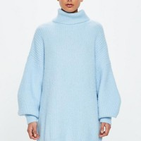 Missguided - Peace + Love Blue Roll Neck Oversized Dress