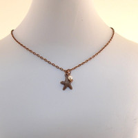 Little Girl Necklace Antique Copper Starfish and Cream Glass Pearl