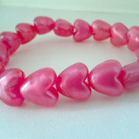 Pink Heart Beaded Stretchy Bracelet