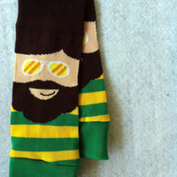Baby Boy Leg Warmers Novelty in Brown Green by fourtinycousins