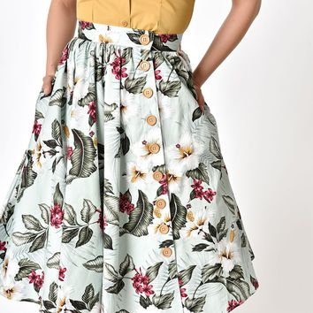 Hell Bunny 1950s Style Green Floral Print Tahiti Flare Skirt